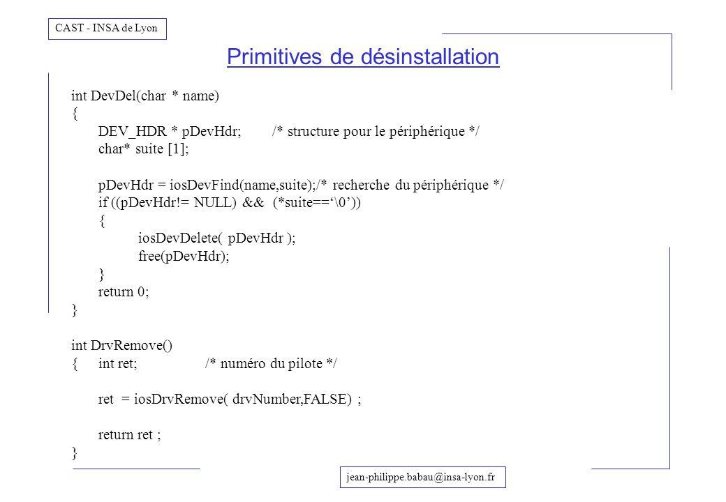 Primitives de désinstallation