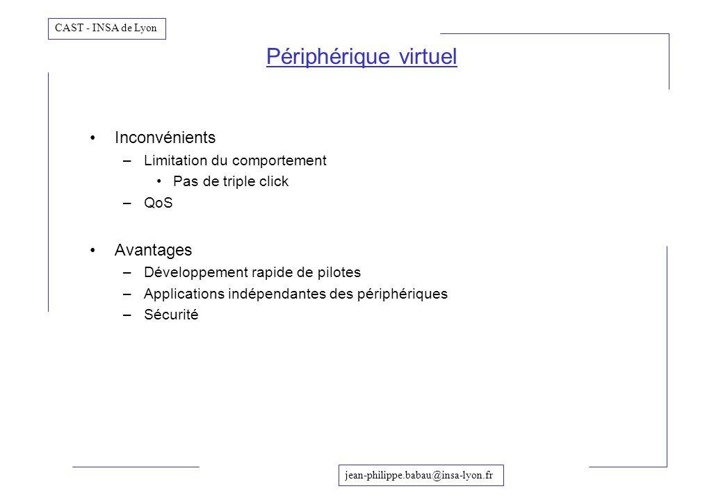 Périphérique virtuel Inconvénients Avantages