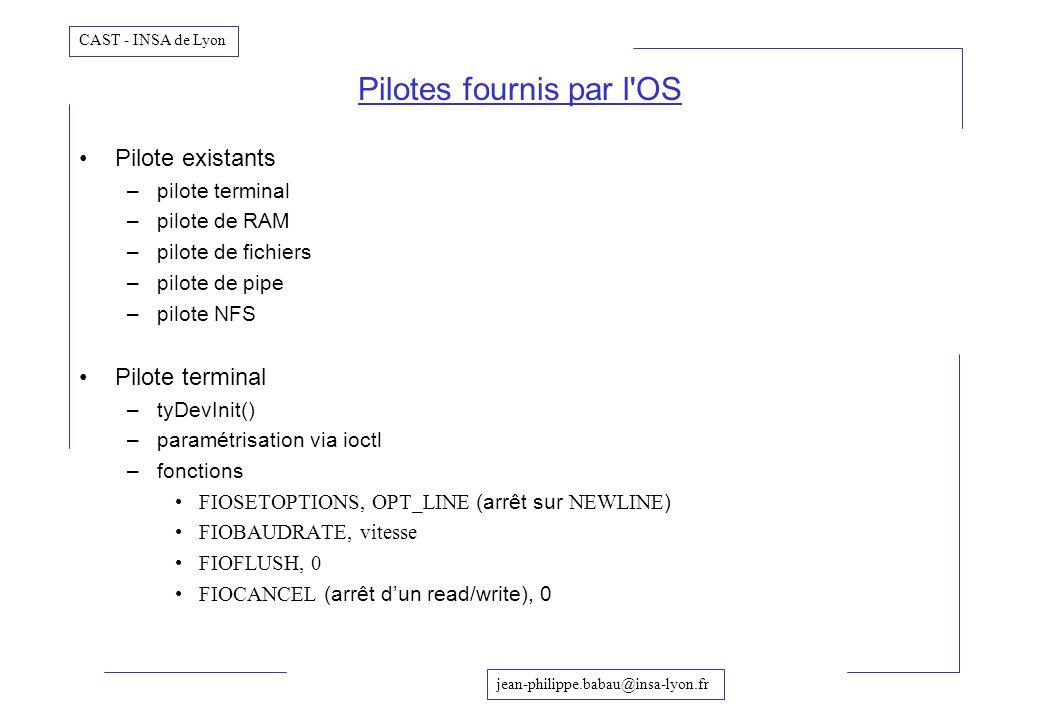 Pilotes fournis par l OS