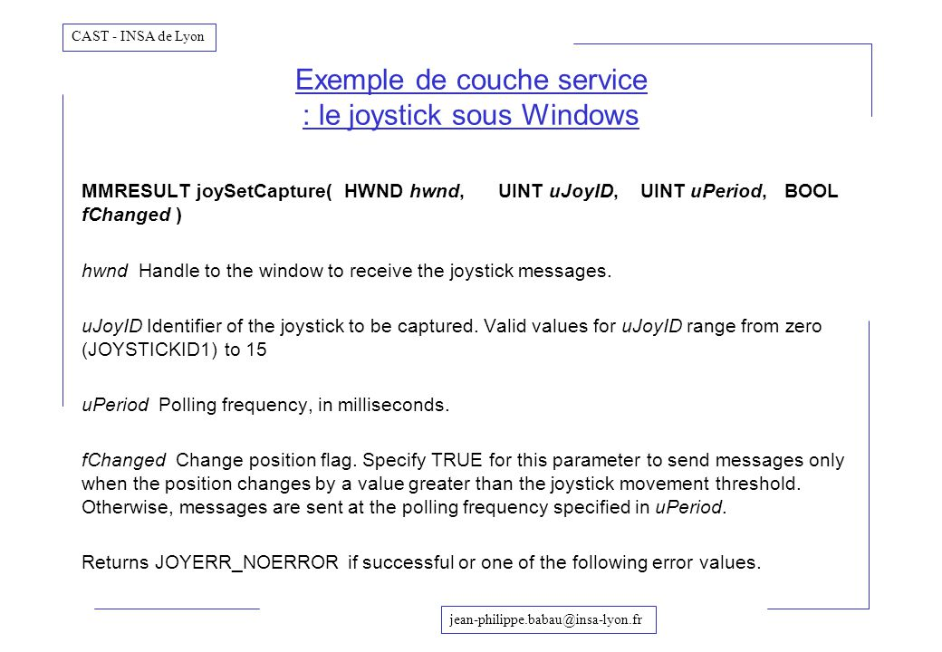 Exemple de couche service : le joystick sous Windows