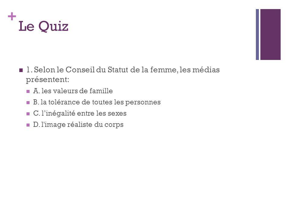 Le Quiz 1. Selon le Conseil du Statut de la femme, les médias présentent: A. les valeurs de famille.