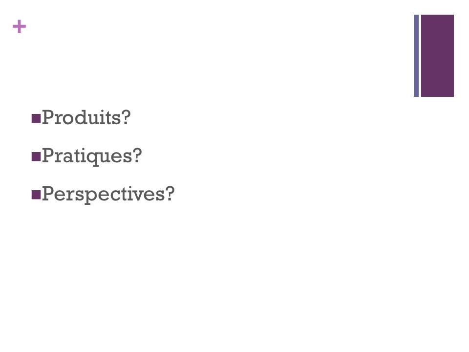 Produits Pratiques Perspectives