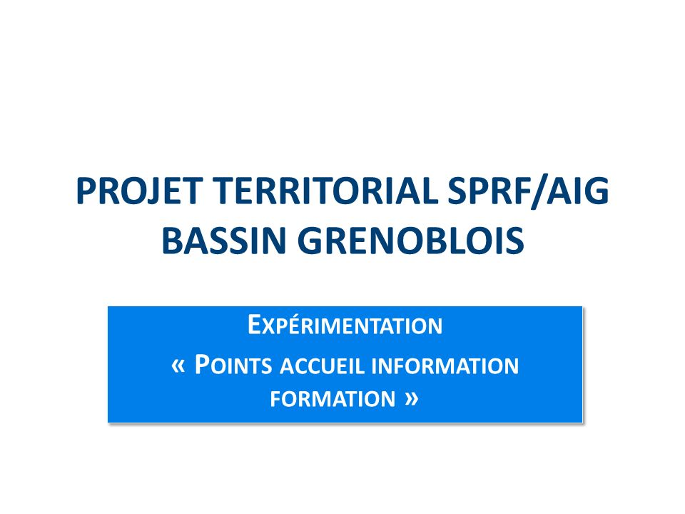 PROJET TERRITORIAL SPRF/AIG BASSIN GRENOBLOIS