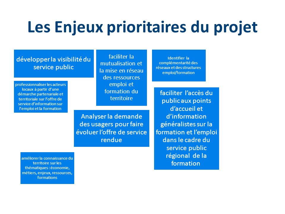 Les Enjeux prioritaires du projet