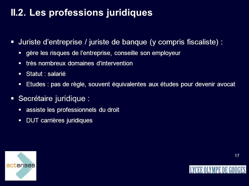 II.2. Les professions juridiques
