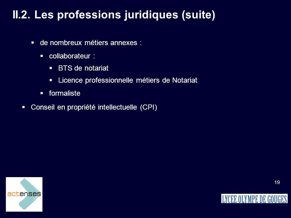 II.2. Les professions juridiques (suite)