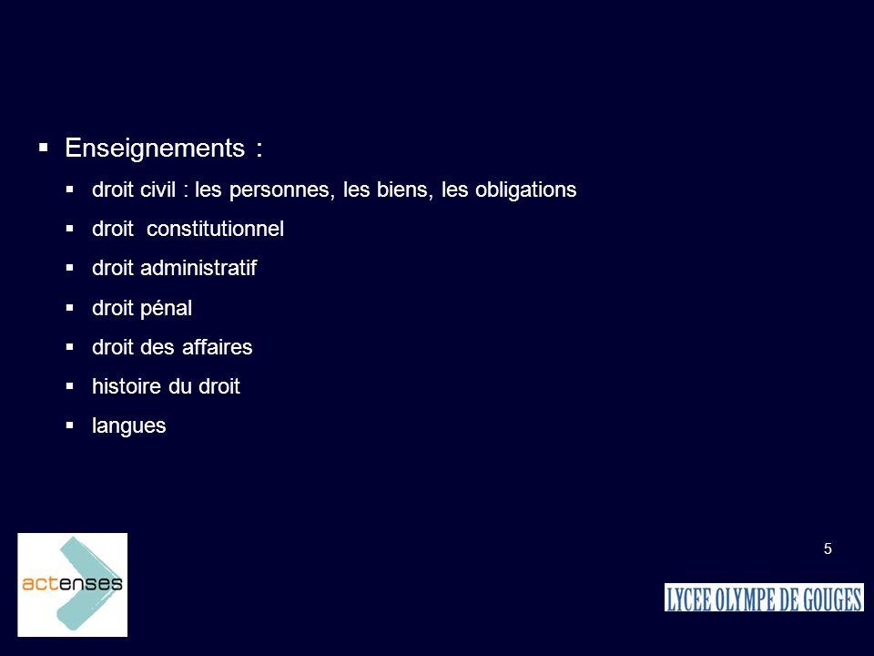Enseignements : droit civil : les personnes, les biens, les obligations. droit constitutionnel. droit administratif.