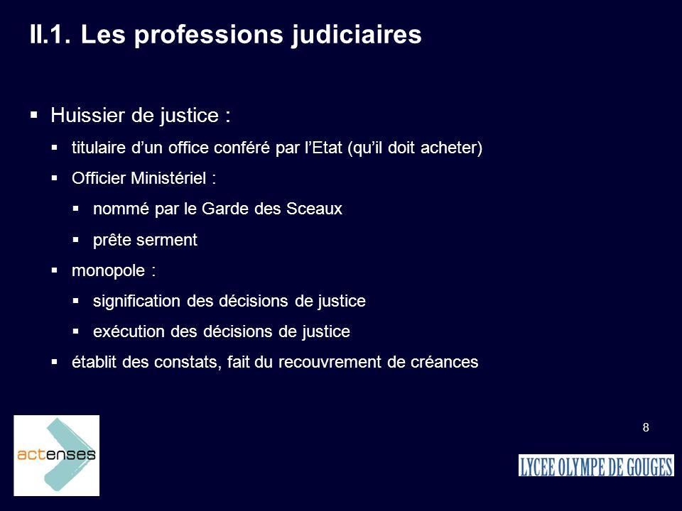 II.1. Les professions judiciaires