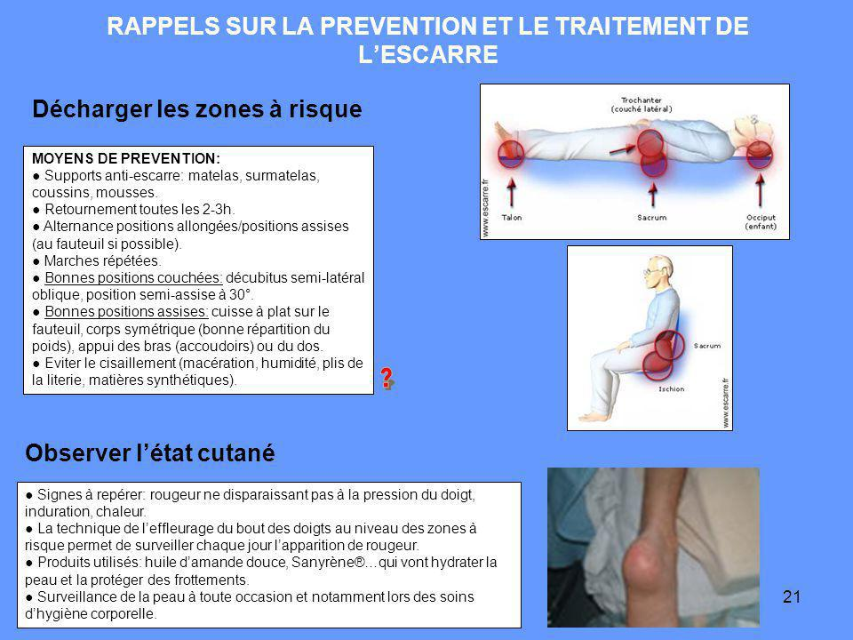 RAPPELS SUR LA PREVENTION ET LE TRAITEMENT DE L'ESCARRE