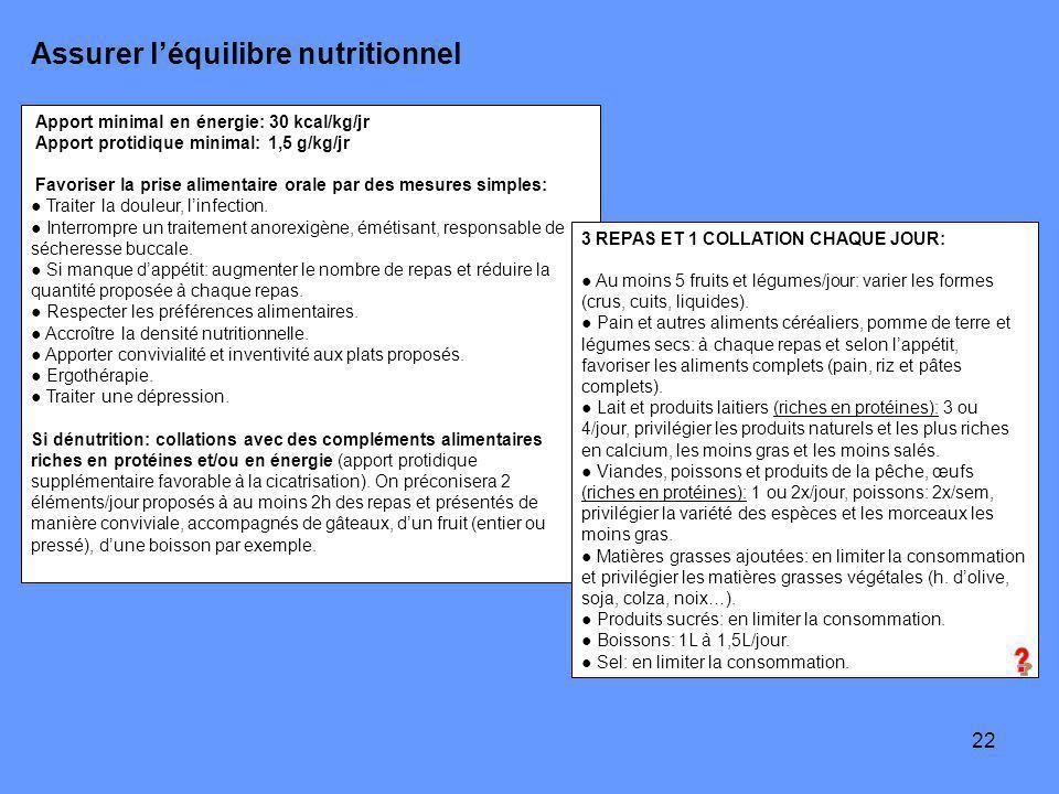Assurer l'équilibre nutritionnel