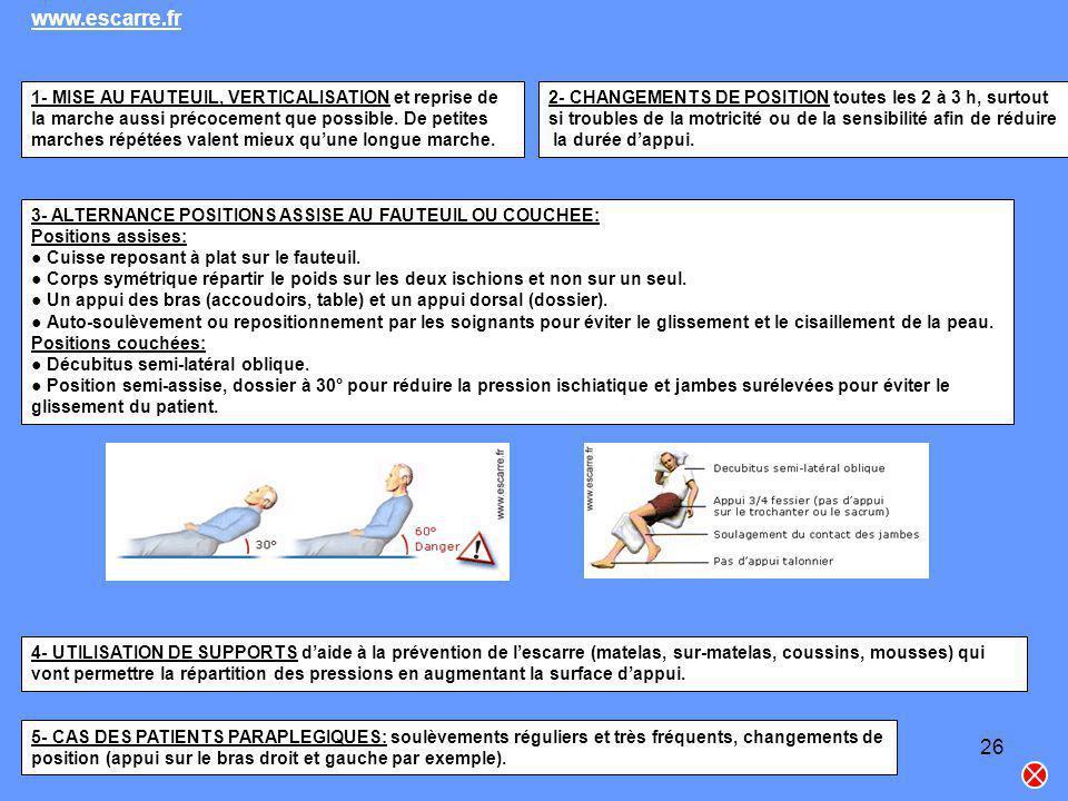 www.escarre.fr 1- MISE AU FAUTEUIL, VERTICALISATION et reprise de