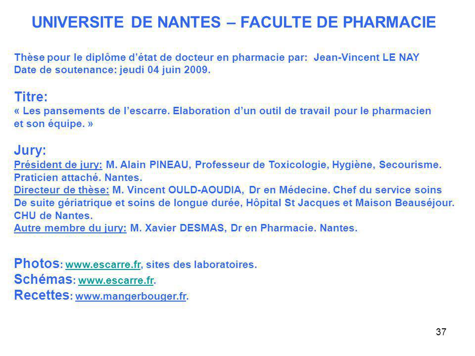 UNIVERSITE DE NANTES – FACULTE DE PHARMACIE