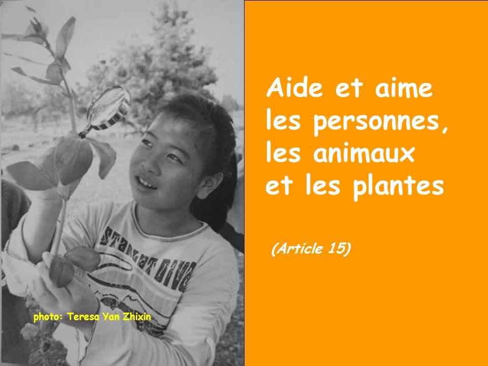 Aide et aime les personnes, les animaux et les plantes