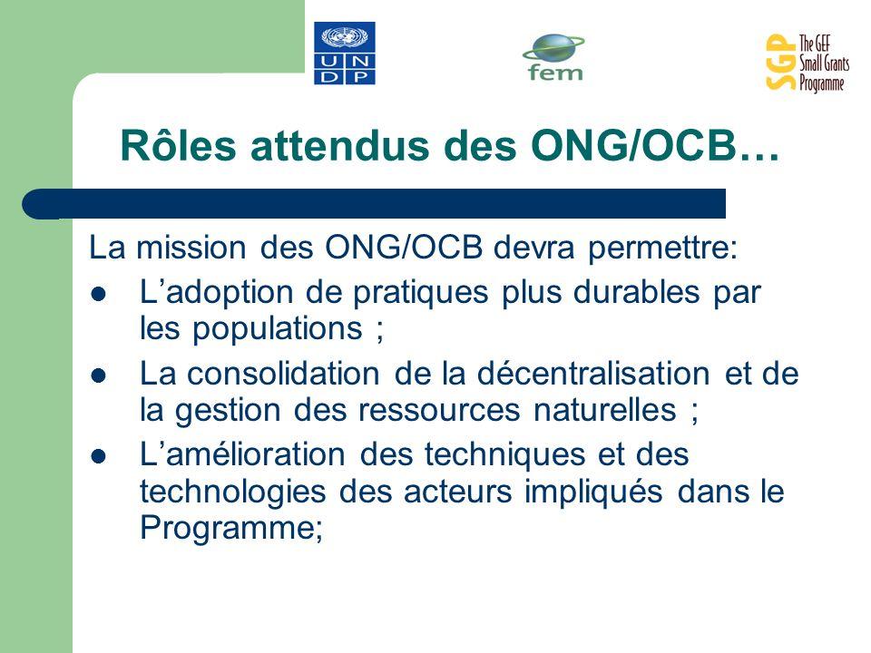 Rôles attendus des ONG/OCB…