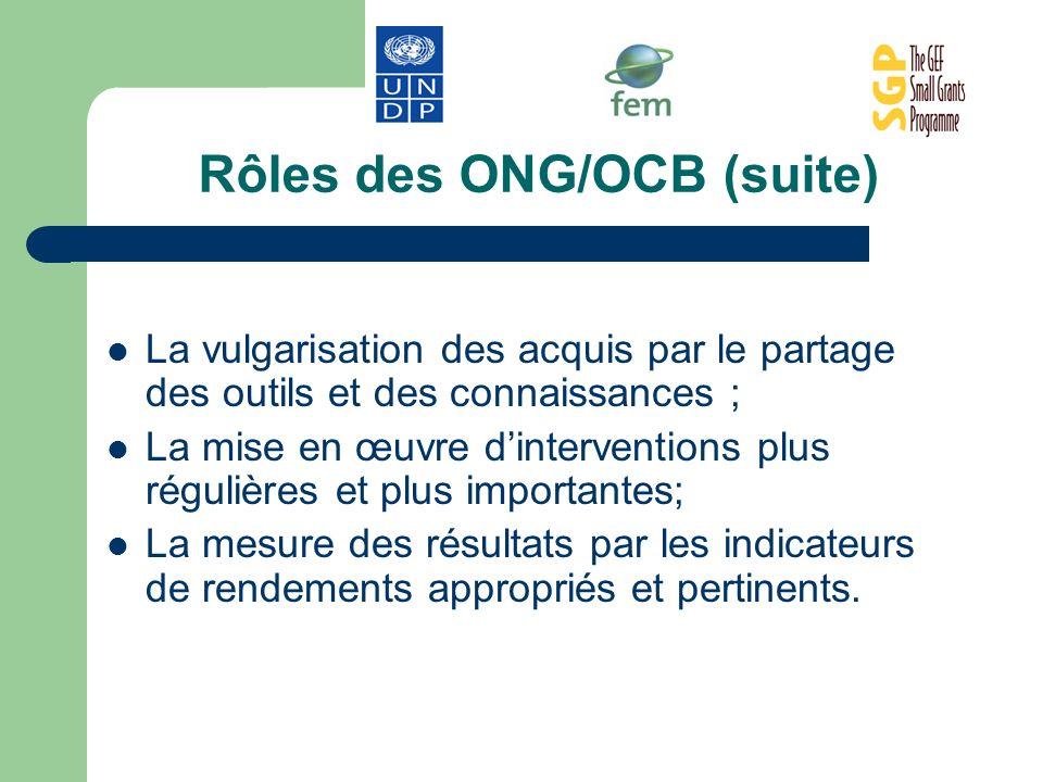 Rôles des ONG/OCB (suite)