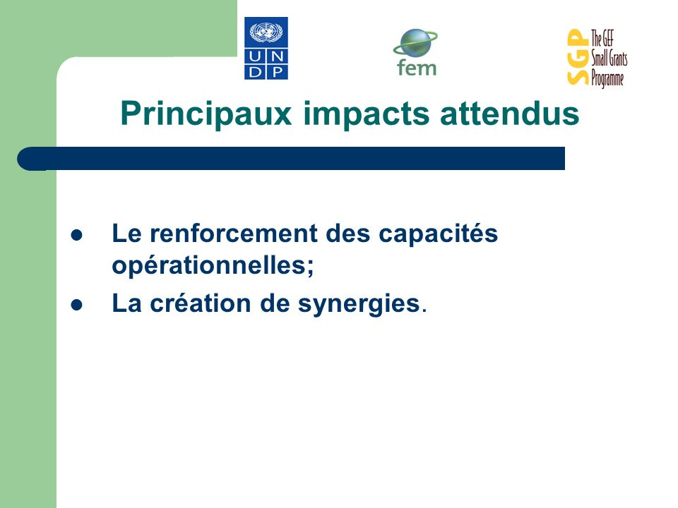 Principaux impacts attendus