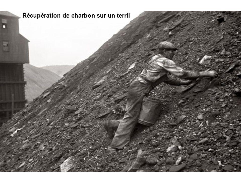 Récupération de charbon sur un terril