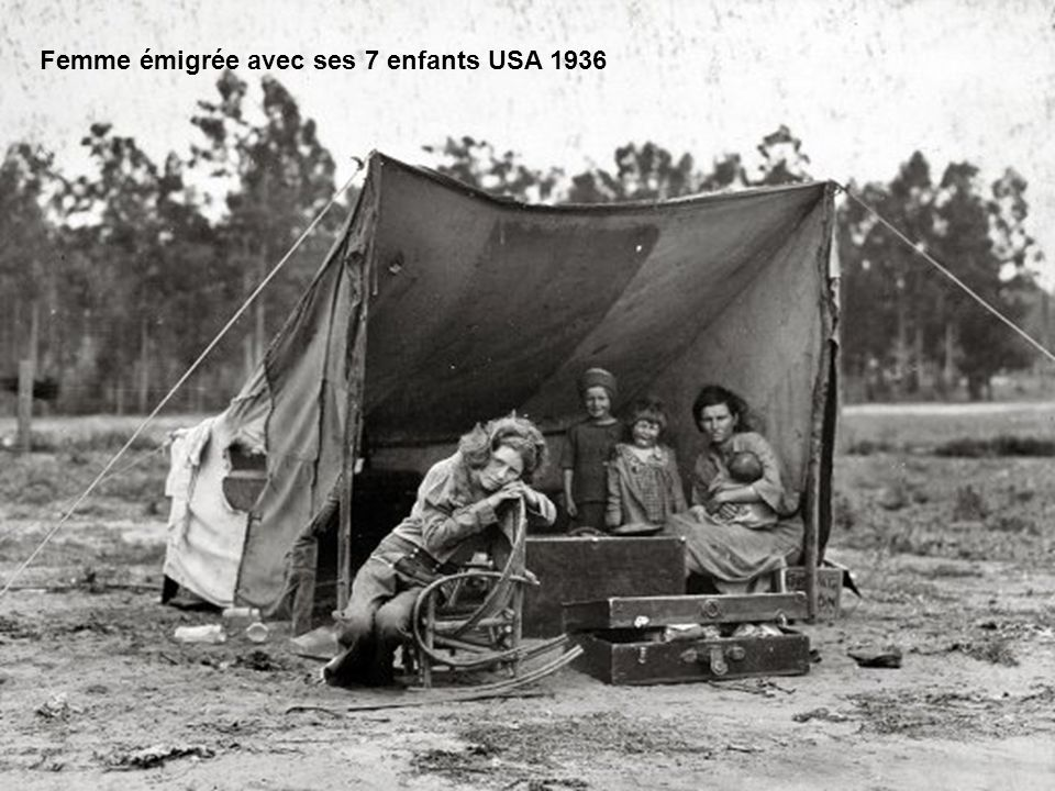 Femme émigrée avec ses 7 enfants USA 1936