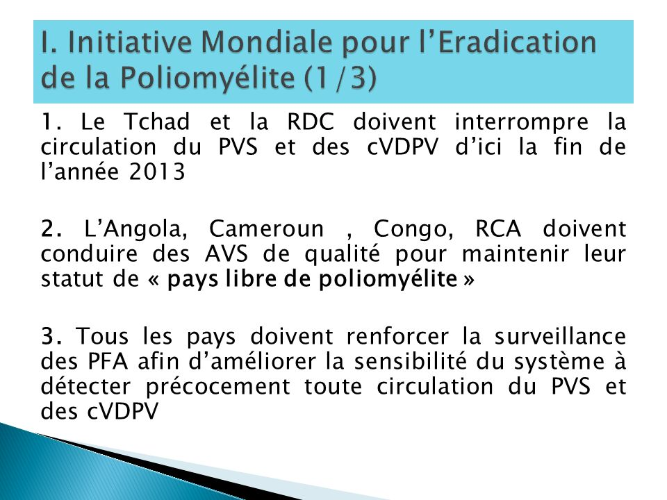 I. Initiative Mondiale pour l'Eradication de la Poliomyélite (1/3)