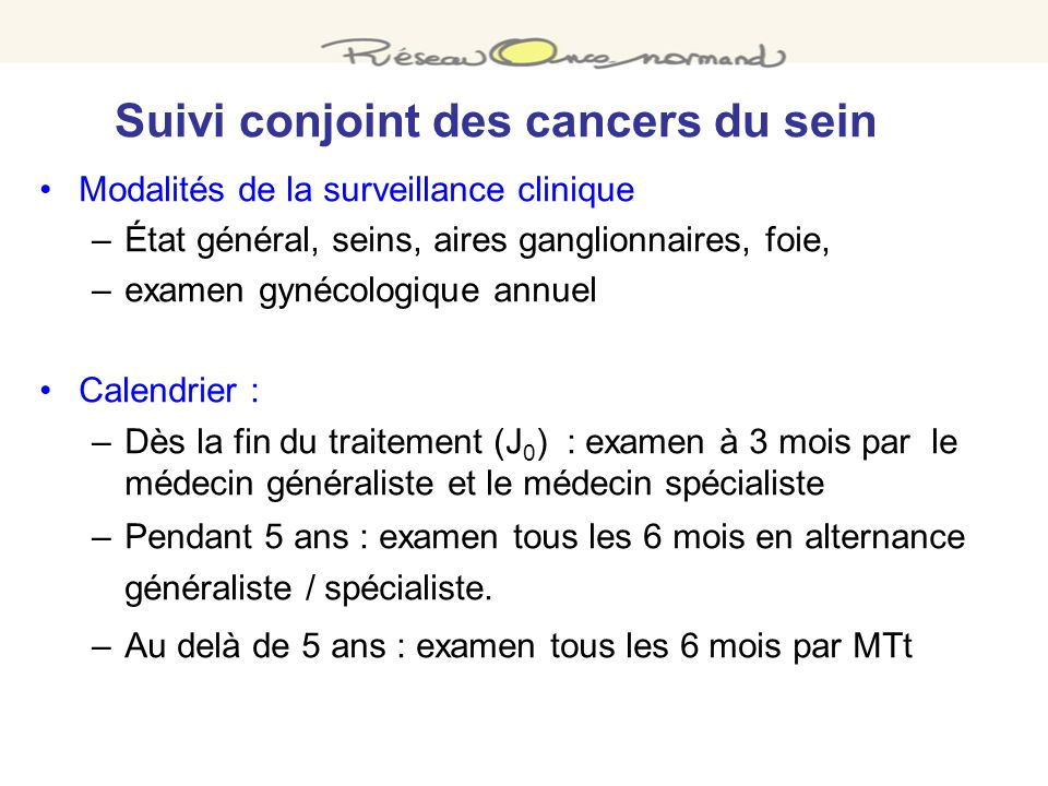 Suivi conjoint des cancers du sein