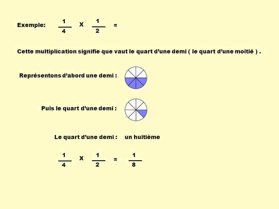1 4. 2. X. = Exemple: Cette multiplication signifie que vaut le quart d'une demi ( le quart d'une moitié ) .