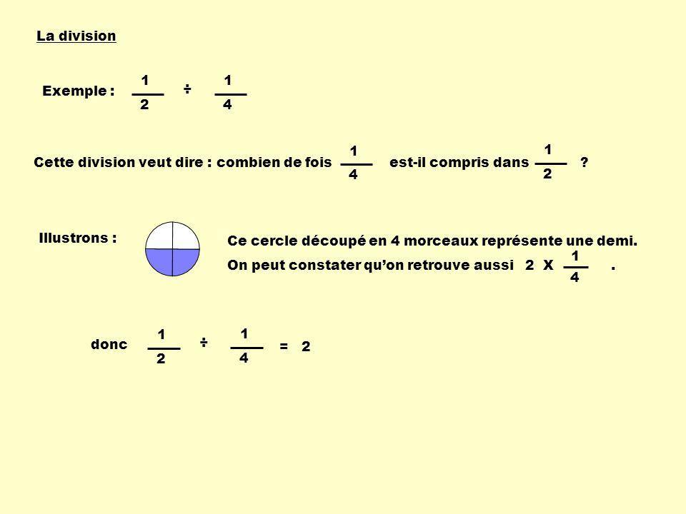 La division 1. 2. 4. ÷ Exemple : Cette division veut dire : combien de fois est-il compris dans