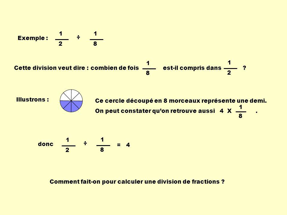 1 2. 1. 8. Exemple : ÷ Cette division veut dire : combien de fois est-il compris dans