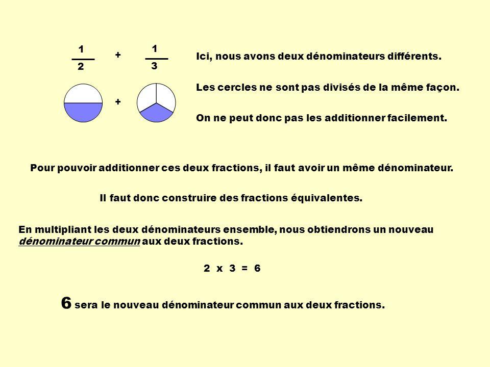 6 sera le nouveau dénominateur commun aux deux fractions.