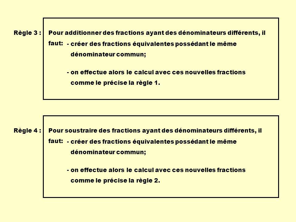 Règle 3 : Pour additionner des fractions ayant des dénominateurs différents, il. faut: - créer des fractions équivalentes possédant le même.