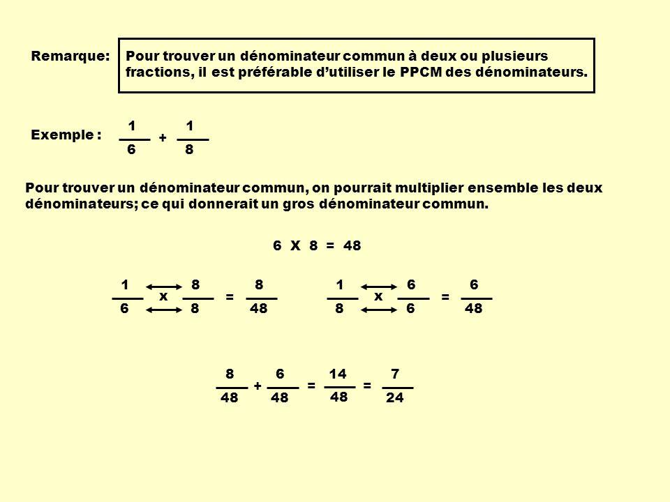 Remarque: Pour trouver un dénominateur commun à deux ou plusieurs fractions, il est préférable d'utiliser le PPCM des dénominateurs.