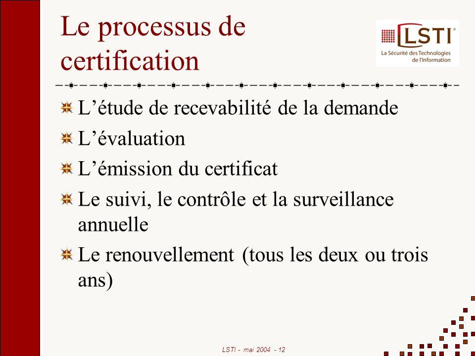 Le processus de certification