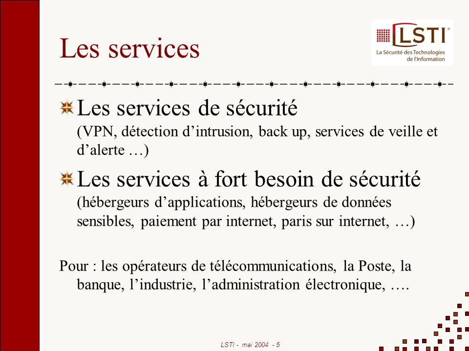 Les services Les services de sécurité (VPN, détection d'intrusion, back up, services de veille et d'alerte …)