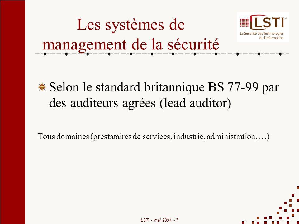 Les systèmes de management de la sécurité
