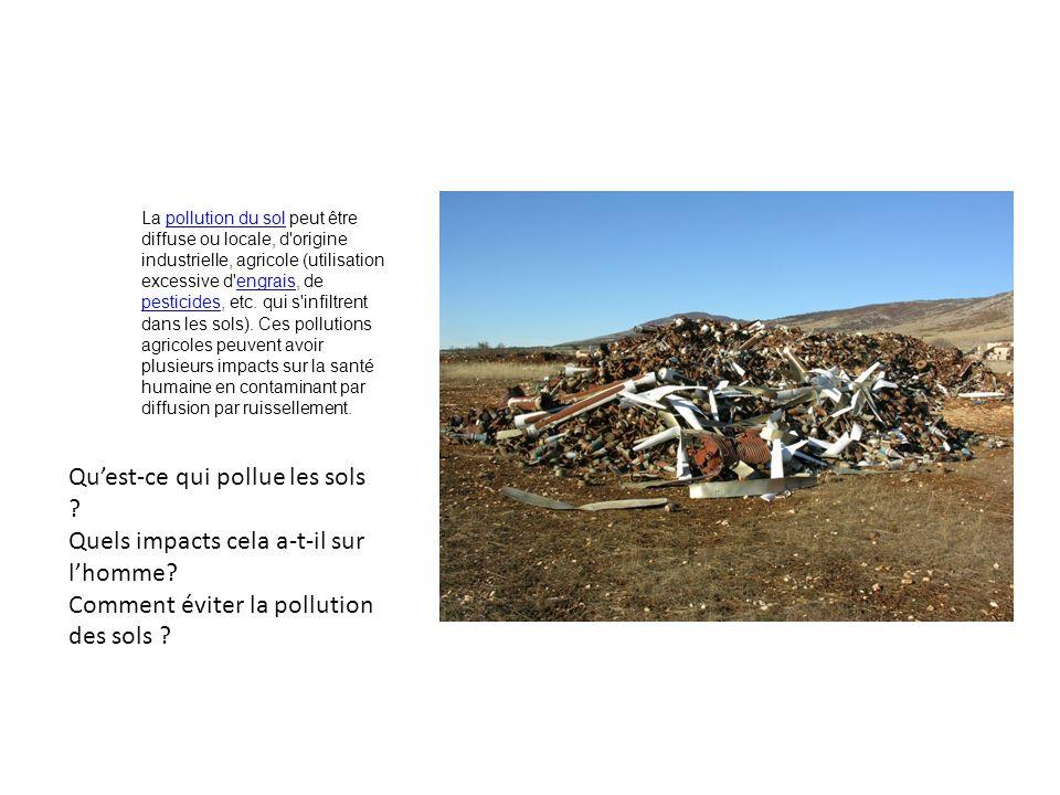 Qu'est-ce qui pollue les sols Quels impacts cela a-t-il sur l'homme