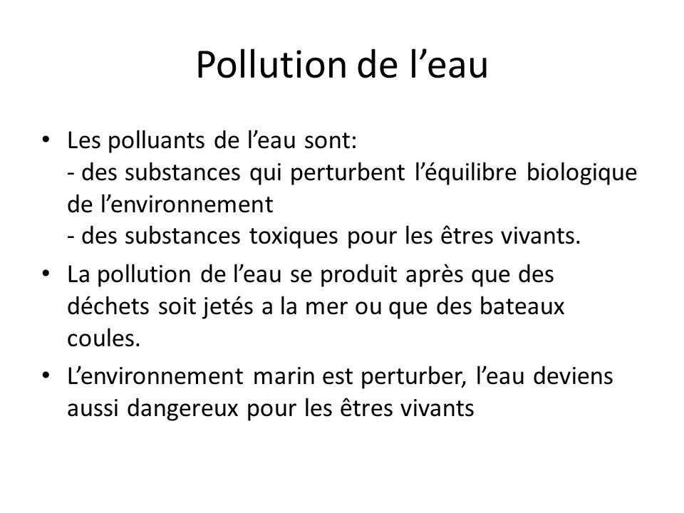 Pollution de l'eau