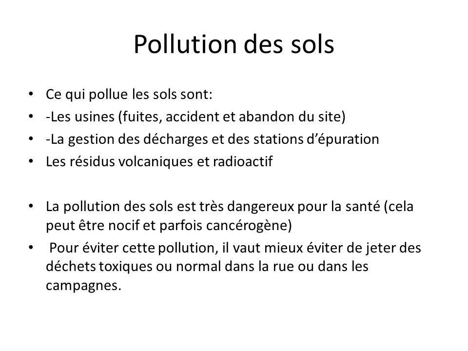 Pollution des sols Ce qui pollue les sols sont: