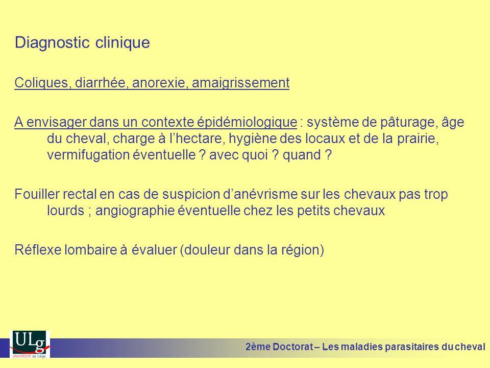 Diagnostic clinique Coliques, diarrhée, anorexie, amaigrissement