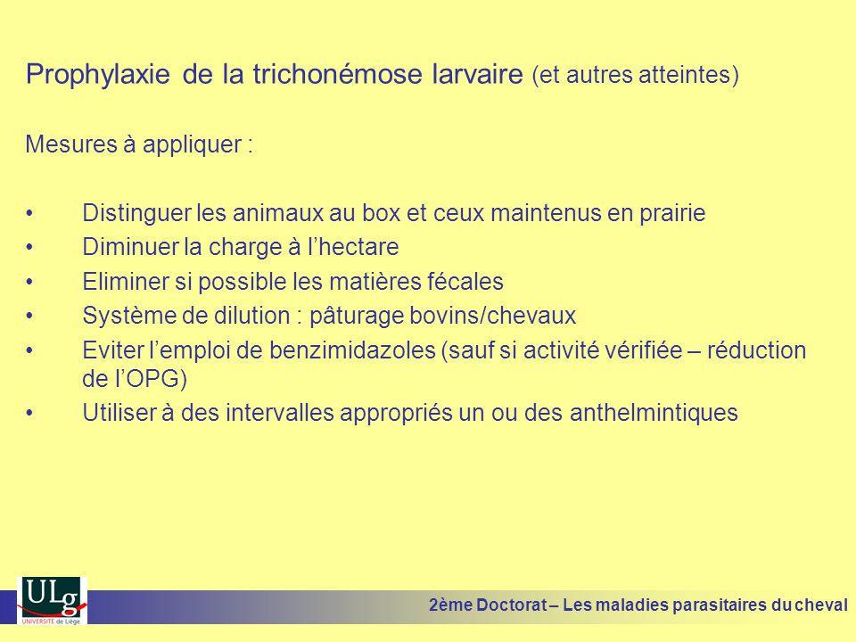 Prophylaxie de la trichonémose larvaire (et autres atteintes)