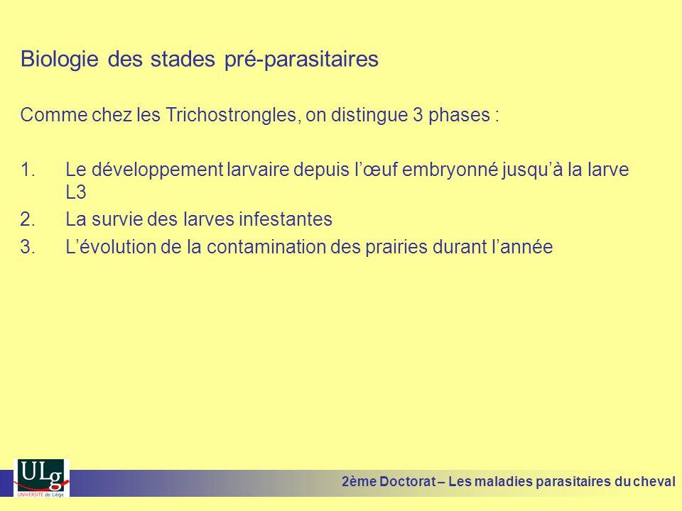 Biologie des stades pré-parasitaires