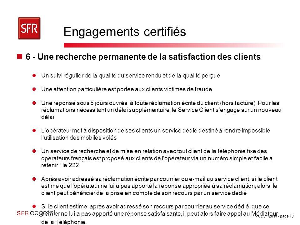 Engagements certifiés
