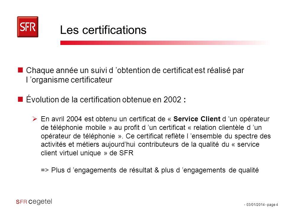 Les certifications Chaque année un suivi d 'obtention de certificat est réalisé par l 'organisme certificateur.