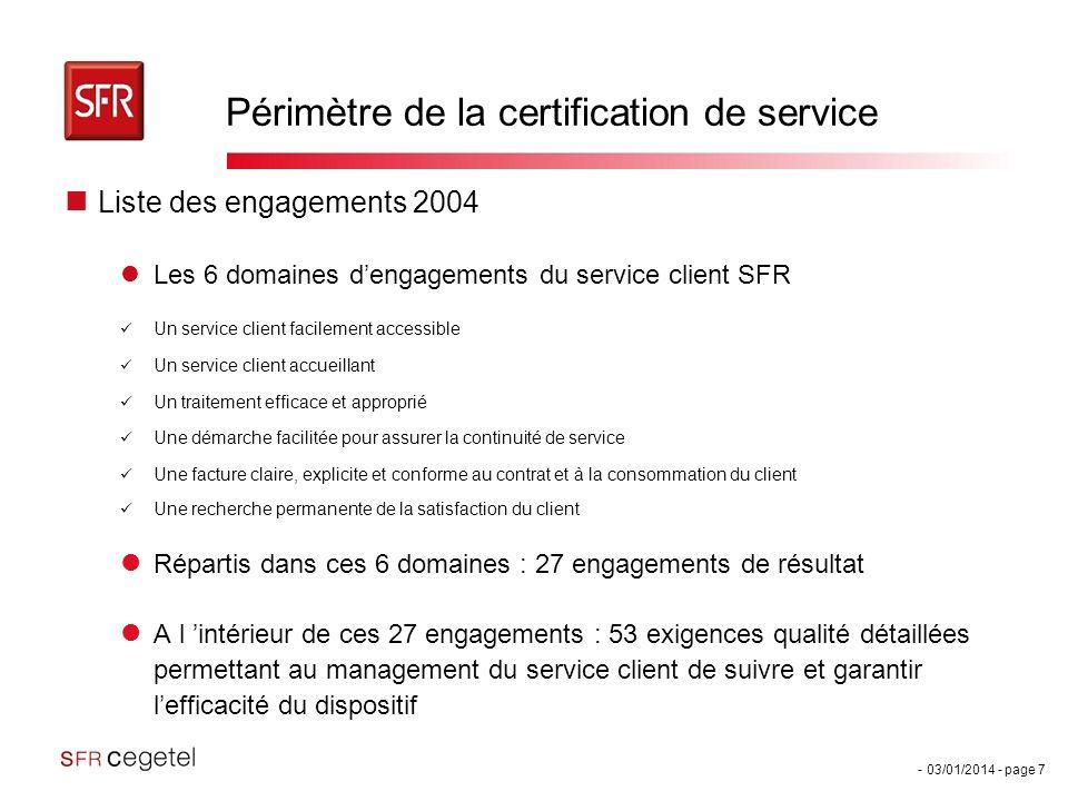 Périmètre de la certification de service