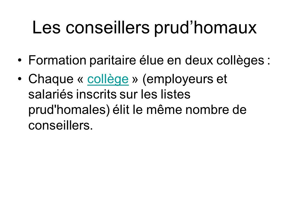 Les conseillers prud'homaux