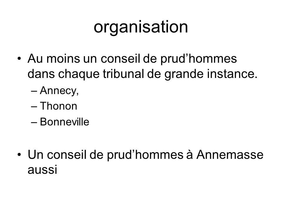 organisation Au moins un conseil de prud'hommes dans chaque tribunal de grande instance. Annecy, Thonon.
