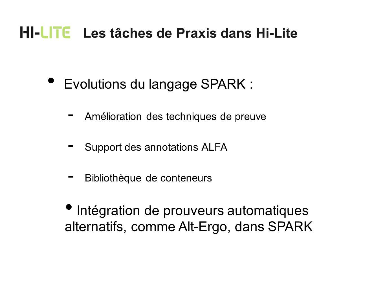 Les tâches de Praxis dans Hi-Lite