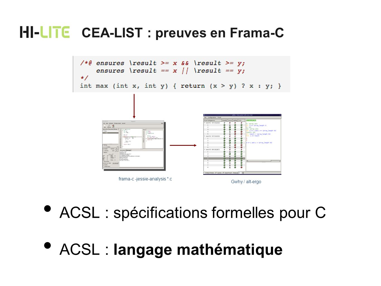 ACSL : spécifications formelles pour C ACSL : langage mathématique