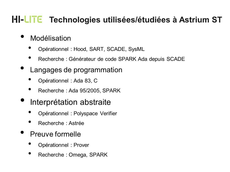 Technologies utilisées/étudiées à Astrium ST