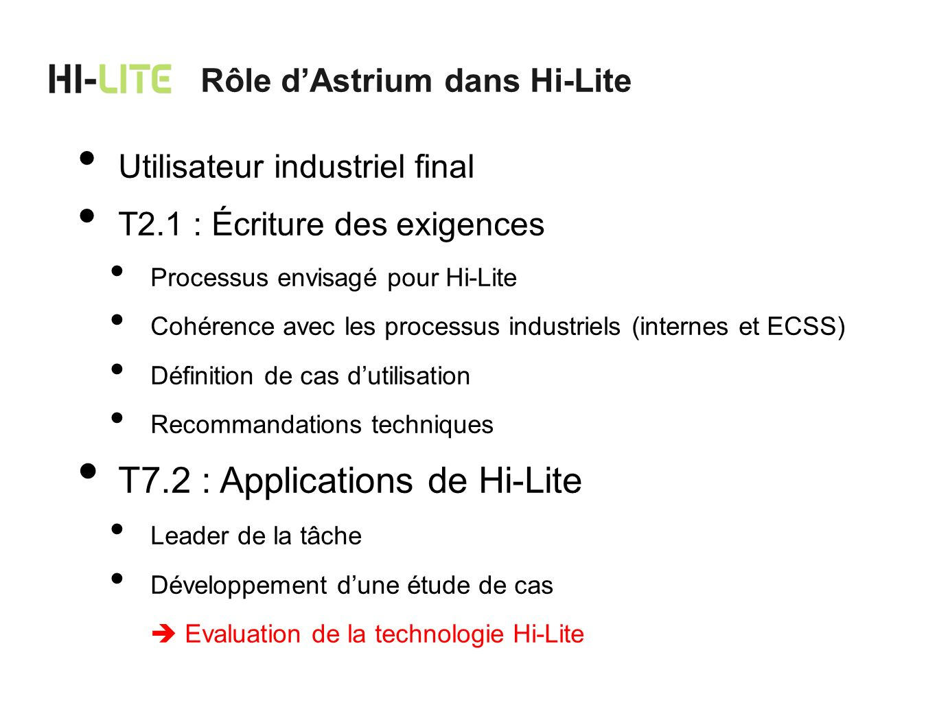 T7.2 : Applications de Hi-Lite