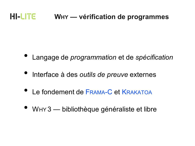 WHY — vérification de programmes