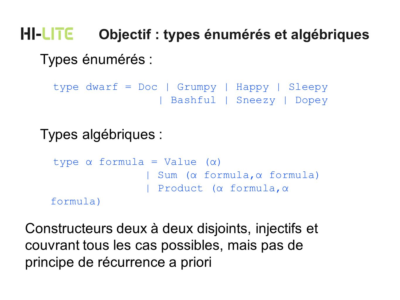 Objectif : types énumérés et algébriques